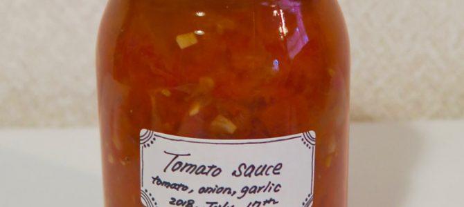 自家製トマトソースの保存食を作りました。